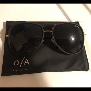 Quay oversized black aviator sunglasses